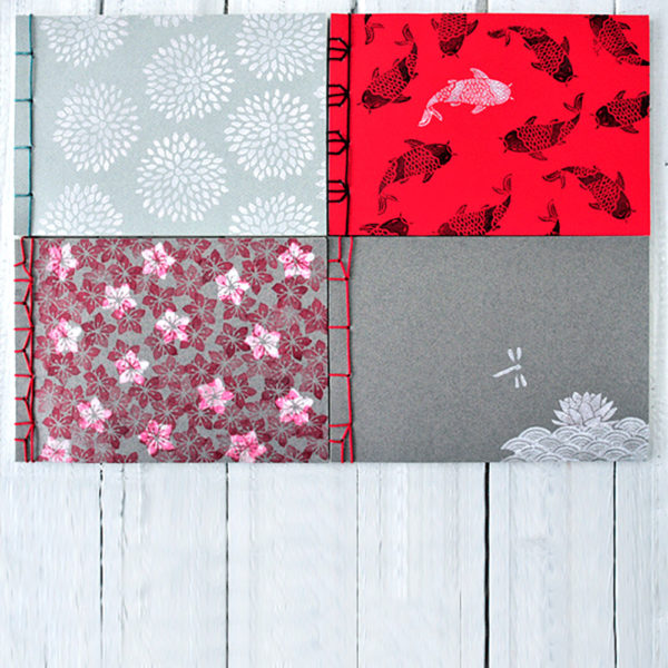 miss red fox - Gestempelte Notizbücher mit japanischer Bindung