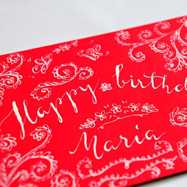 miss-red-fox - Umschlag für Geburtstagskarte - Lettering Kalligraphie