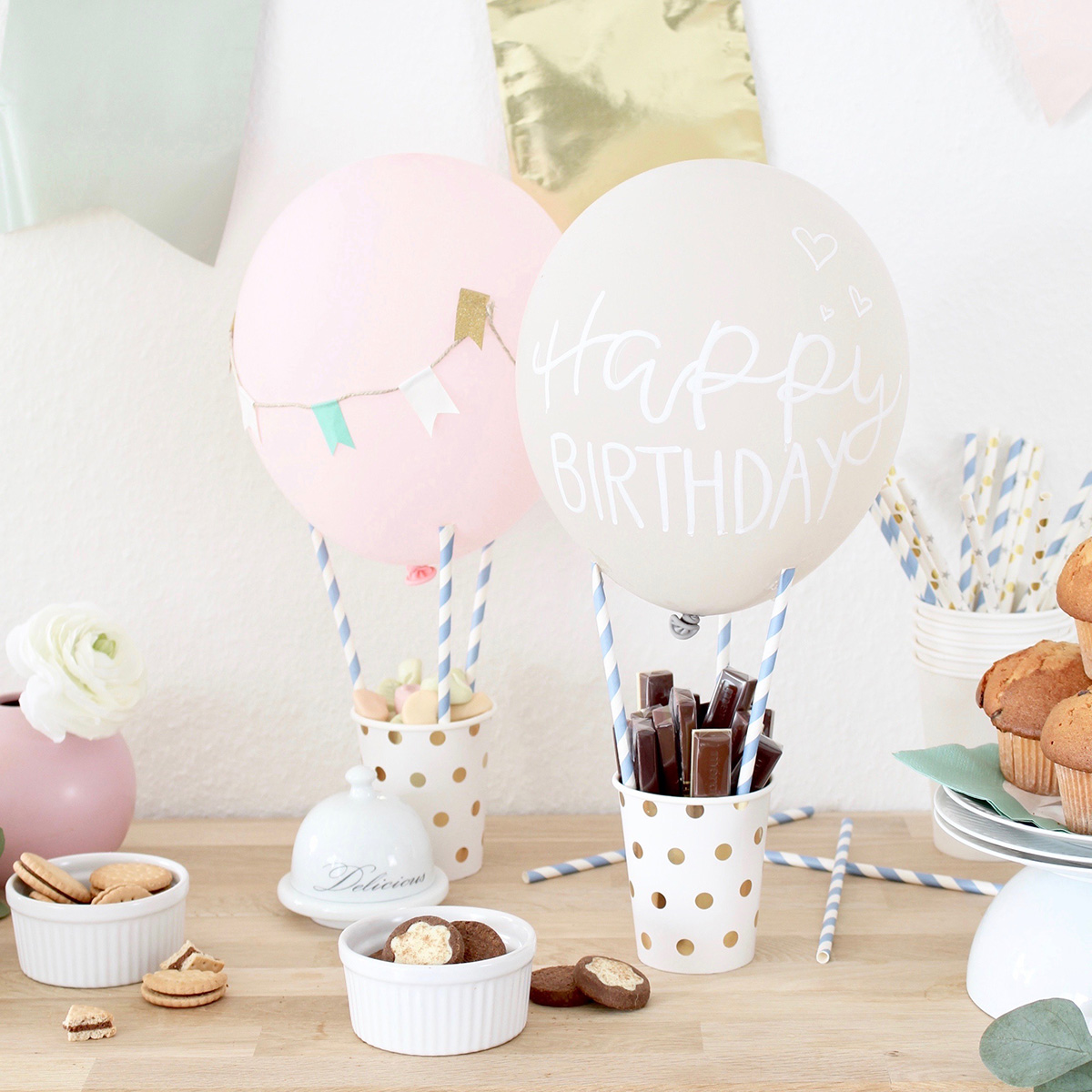 missredfox - Love Decorations - DIY Heißluftballon Snack Holder_ Geburtstagstisch_Candy Bar_2
