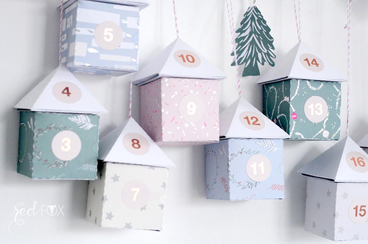 missredfox - 12giftswithlove - 11 - Waldfunde - Adventskalender Pastell Häuser auf dem Ast - 02