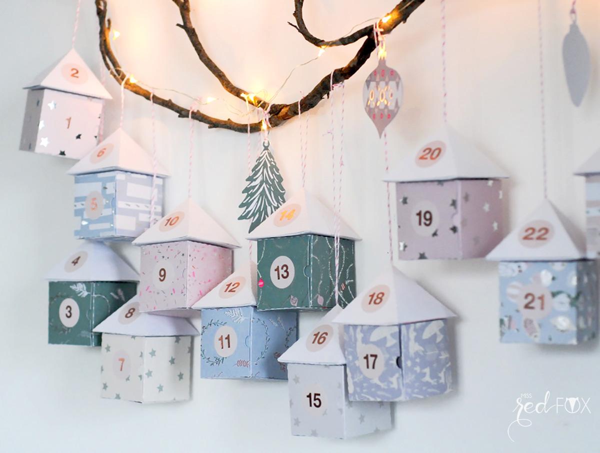 missredfox - 12giftswithlove - 11 - Waldfunde - Adventskalender Pastell Häuser auf dem Ast - 10