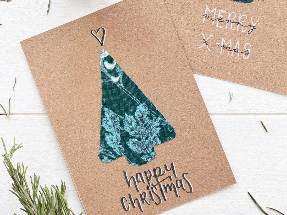 missredfox - 12giftswithlovegoesXMAS - Love Decorations - DIY Tannenbaum Weihnachtskarte mit Stoff - 02