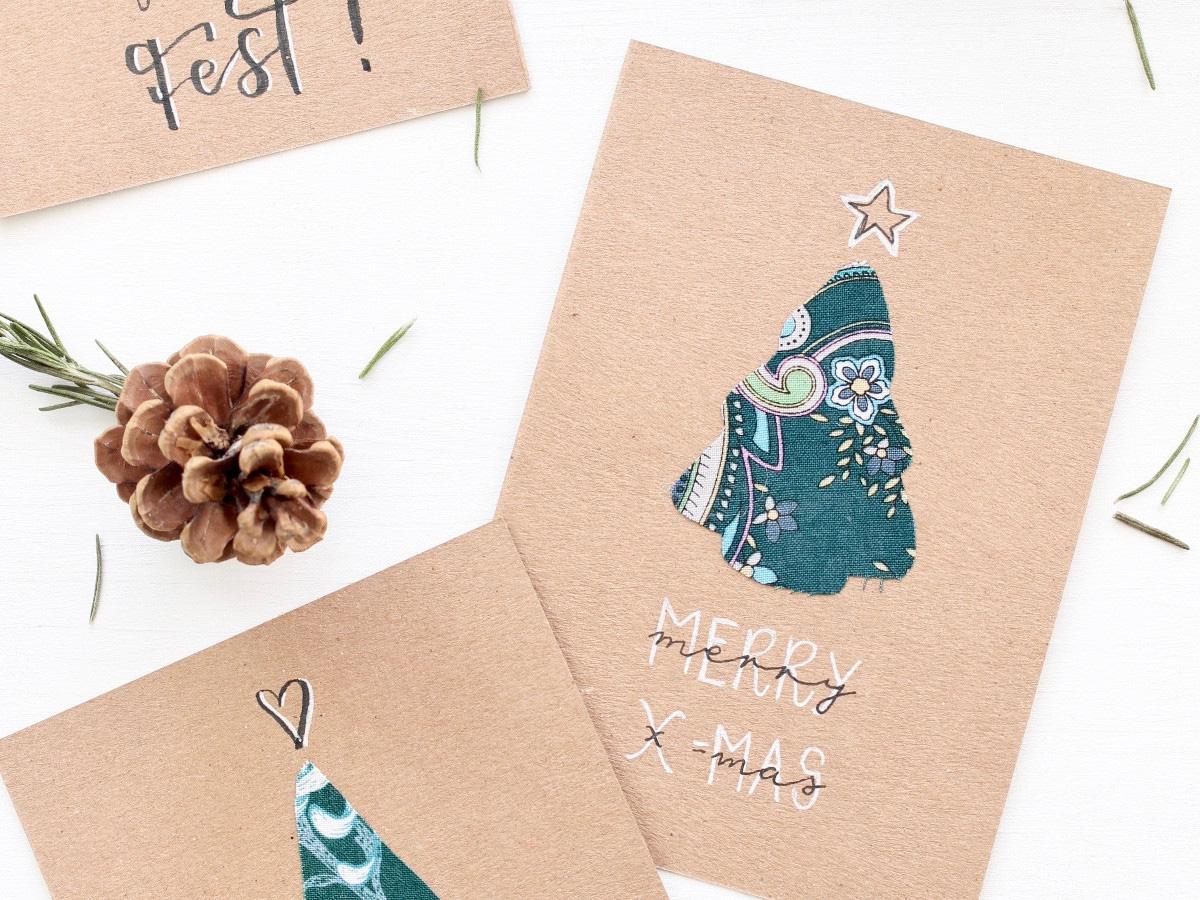 missredfox - 12giftswithlovegoesXMAS - Love Decorations - DIY Tannenbaum Weihnachtskarte mit Stoff - 03