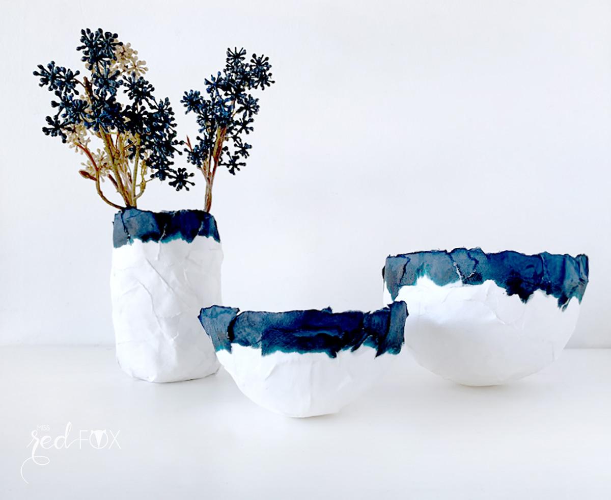 missredfox - 12giftswithlove - Minimalistisch - Pappmaché Schalen Vase Indigo - 01