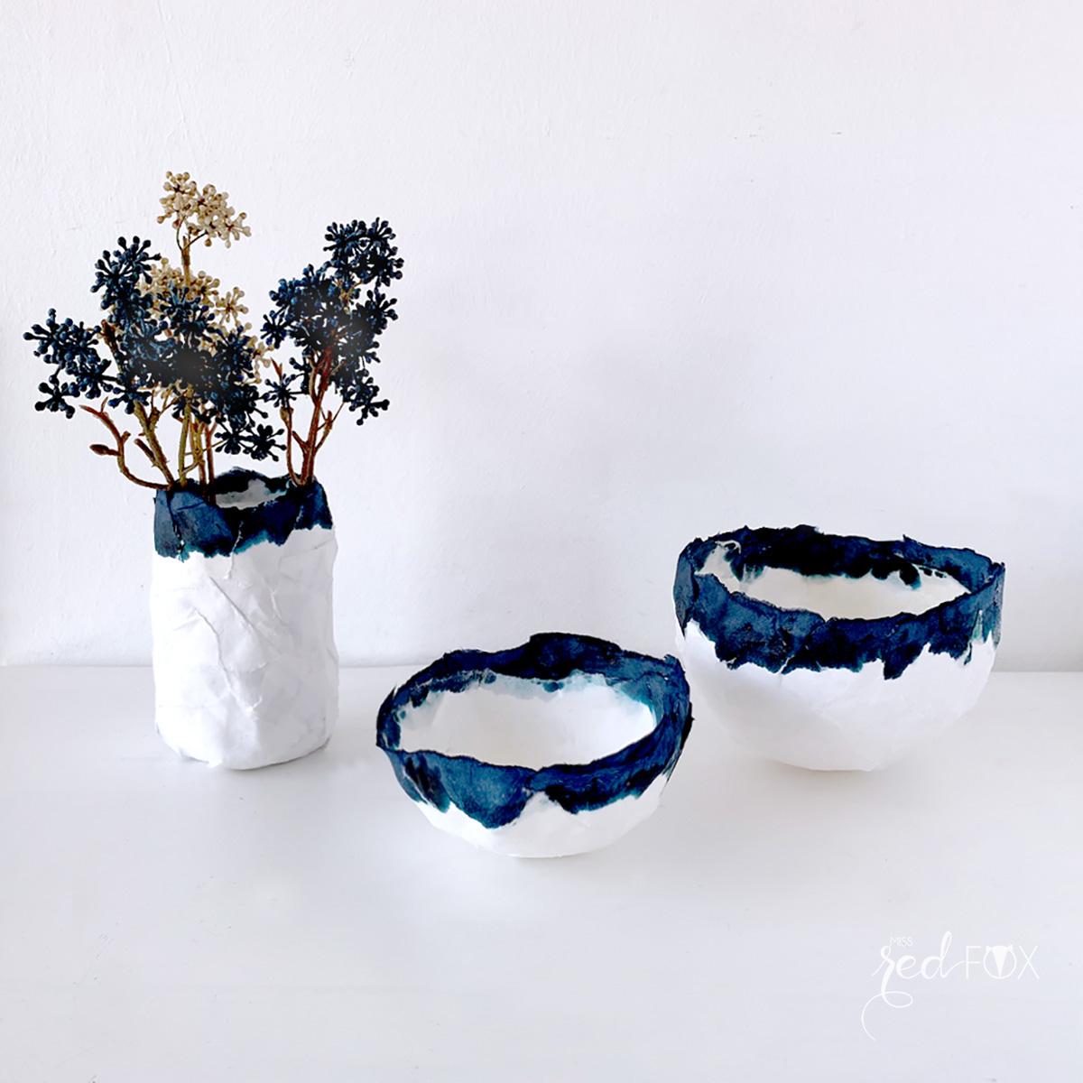 missredfox - 12giftswithlove - Minimalistisch - Pappmaché Schalen Vase Indigo - 06