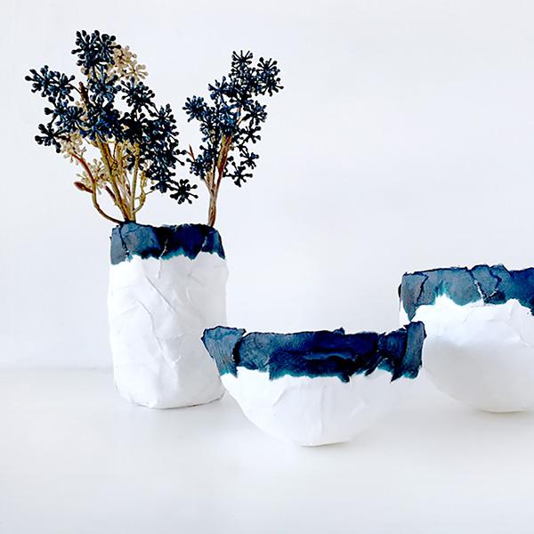 missredfox - 12giftswithlove - Minimalistisch - Pappmaché Schalen Vase Indigo