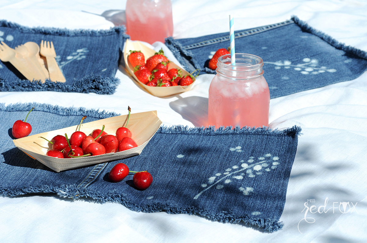 missredfox - 12giftswithlove 06 - Picknick - DIY Upcycling Jeans Servietten bleichen - 02