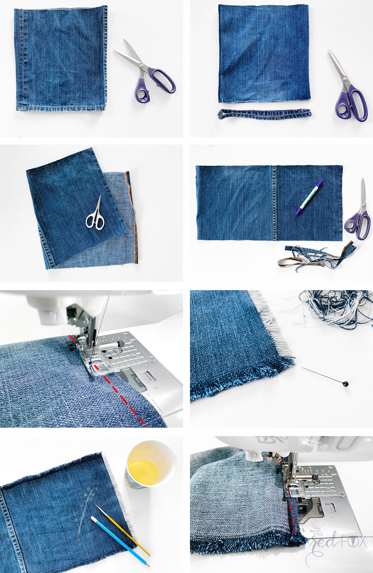 missredfox - 12giftswithlove 06 - Picknick - DIY Upcycling Jeans Servietten bleichen - 05
