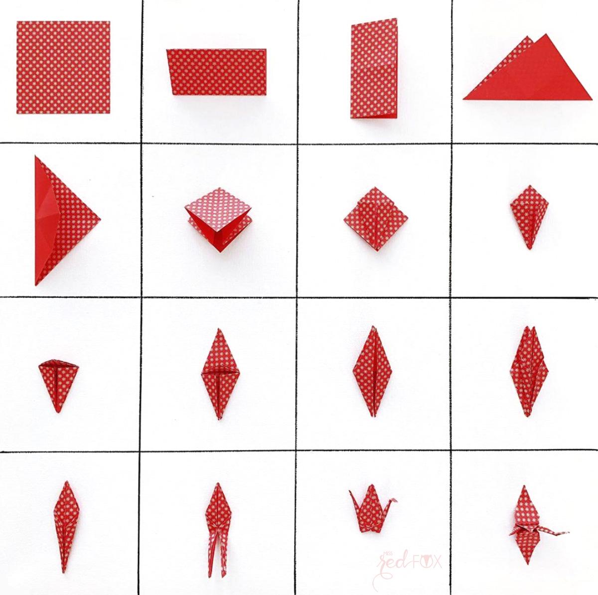 missredfox - 12giftswithlove - Licht - Origami Kraniche Lichterkette - 03a
