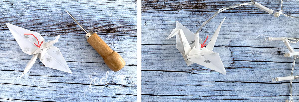 missredfox - 12giftswithlove - Licht - Origami Kraniche Lichterkette - 04