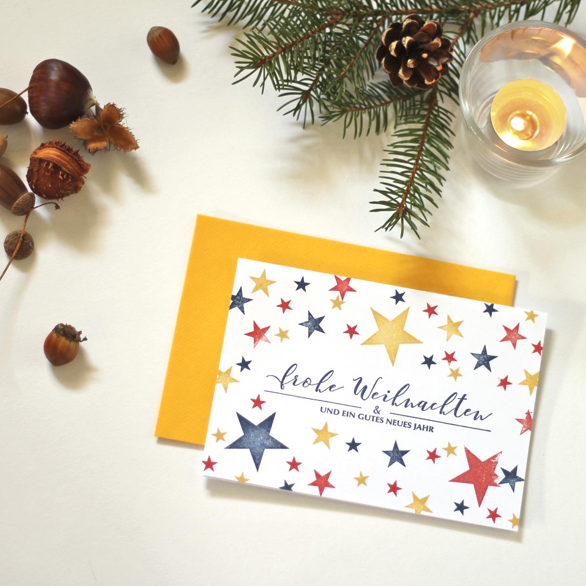 missredfox - 12giftswithlovegoesxmas - 13 - 4Freizeiten - Weihnachtskarten stempeln mit Sternen 1